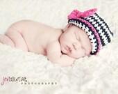 Baby Girl Zebra Hat, Baby Girl Hats, Crochet Zebra Hat, Crochet Baby Hats, Black and Pink Zebra Hat, Hats for Babies, Hats for Girls