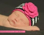Zebra hat, Baby Girl Hats, Black and Pink Zebra Hat, Hats for girls, Newborn Baby Hats, Crochet Baby Hats, Hats for Babies