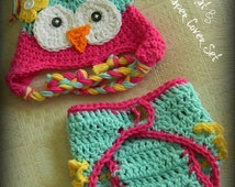 Owl Hat and Diaper Cover, Owl Hat for baby, Crochet Owl Hat, Baby Girl Hats, Crochet Baby Hats, Hat and Diaper cover