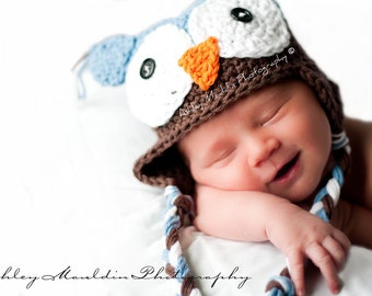 Baby Boy Owl hat, Blue and Brown Owl hat, Newborn to 24 mths, Newborn Owl hat, Baby owl beanie, Crochet baby owl hats