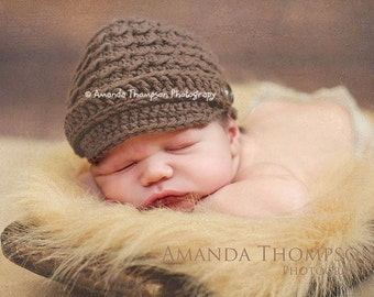 Newborn Newsboy Hat, Crochet Baby Hats, Baby Newsboy Hat, Newborn to 12 mnths, Custom Color Hat, Crochet Newsboy Cap
