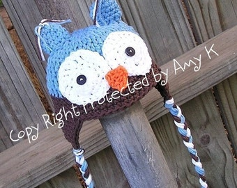 Teen to Adult Owl hat, Blue and Brown Owl Hat, Boy Owl hats