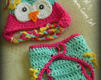 Owl Hat and Diaper Cover, Crochet Baby Hats, Hat and Diaper cover, Owl Hat Set, Baby Girl hats