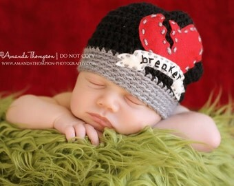 Heart Breaker Hat, Crochet Baby Hats, Hats for Boys, Newborn to 24 mnths,  Baby Boy Hats