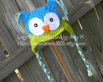 Crochet Owl Hat for Baby, Crochet Owl Hats, Newborn Owl Hats,  Baby Boy Owl Hat, Blue and green