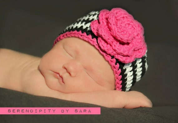 Baby Zebra hat, Stripe Hat, Baby Girl Hat, Black and Pink Hat, Newborn Baby Hat, Newborn to 24 mnth, Crochet Baby Hats, Baby Zebra Print hat