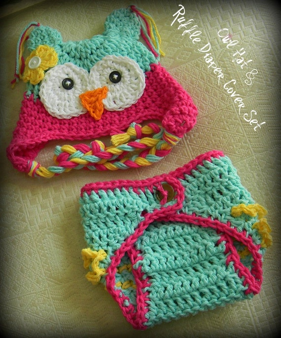 Crochet Pattern For Newborn Owl Hat : Items similar to Owl Hat and Diaper Cover, Owl Hat for ...