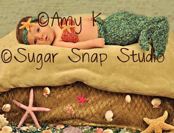 Baby Girl, Mermaid, Mermaid Set, Photo Prop, Hand Knit, Mermaid Cocoon Baby Cocoon Set, Photography Prop