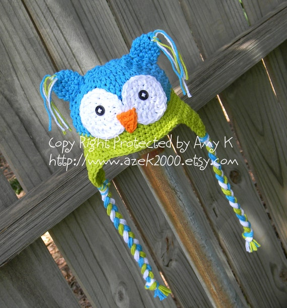 Blue and Green Owl Hat, Crochet baby boy hats, Newborn to 24 mnth, Baby Boy Owl Hats