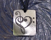 Music Heart Pendant, Treble Clef -  Etched Stainless Steel - Love and Music