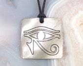 Eye of Horus Pendant, Stainless Steel Etched  -  Truth, Protection, Wisdom, Rebirth