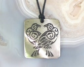 Odins Ravens Pendant - Norse Stainless Steel Etched - Thought and Memory, Large