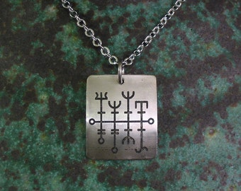 Viking Good Luck Necklace, SMALL Stainless Steel Etched Pendant on Stainless Steel Chain
