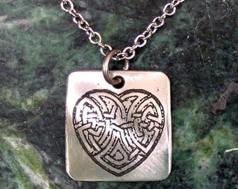 Celtic Heart Necklace, Knotwork, Stainless Steel Etched - Eternal Love - on Stainless Steel Chain