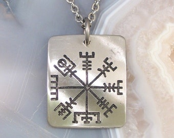 Viking Compass Necklace - See the Way Home, Traveller - SMALL Stainless Steel Rune on Chain Vegvisir