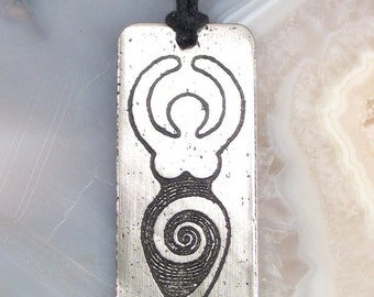 Goddess Pendant, Etched Stainless Steel - Transformation, Wisdom, Power, Life