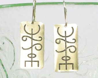 Friendship Viking Rune Earrings - Etched Brass - Thekkur