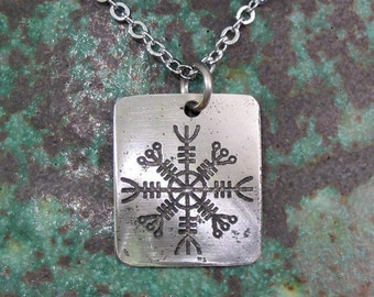 Helm of Awe Viking Necklace - Protection (Aegishjalmur) - Etched Stainless Steel Rune on Chain - SMALL