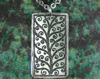 Tree of Life Vine Necklace, Stainless Steel Etched -  Persistance, Beauty, Strength - LARGE