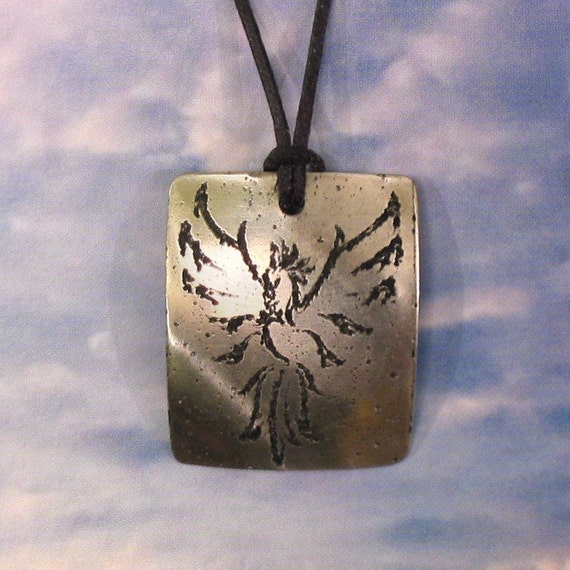 Phoenix Pendant Stainless Steel Etched - Rebirth, Change, Renewal - Large