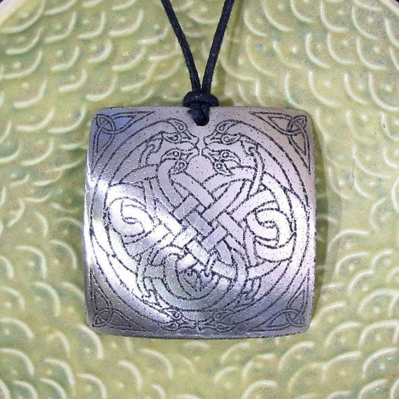 Celtic Serpent Knot Pendant Stainless Steel Etched - Eternity, Knowledge, Mystery