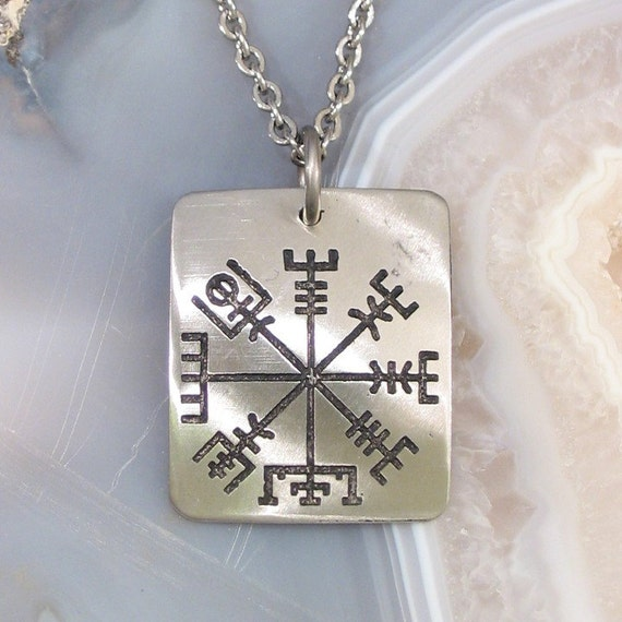 Viking Compass Necklace - See the Way Home, Traveller - Small Stainless Steel Rune on Chain
