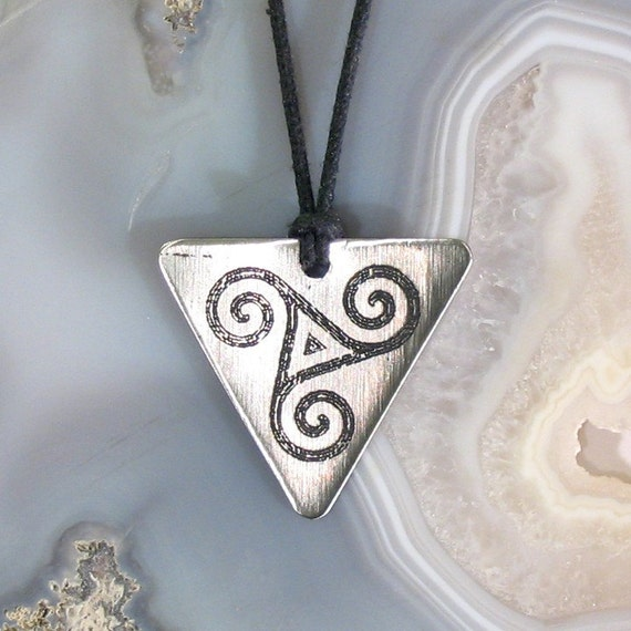 Ancient Triskelion Celtic Spirals Pendant, Etched Stainless Steel - Spirituality and Progress