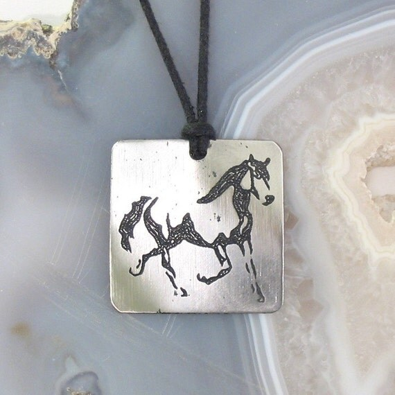 Horse Pendant, Stainless Steel Etched - Speed, Grace, Stamina, Freedom