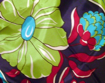 Vintage Scarf in Bright Blue Magenta Purple Chartreuse Floral Geometric Design