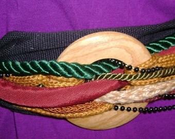 vintage fabric wide cummerbund belt with braid and bead trim cinch style