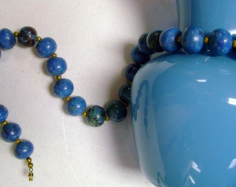 Bold and beautiful blue marbelized large beaded necklace 1980s ethnic look