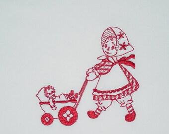 Raggedy Girls (7) Machine Embroidered Quilt Blocks
