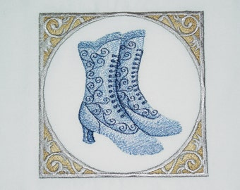 Victorian Hats & Shoes (7) Machine Embroidered Quilt Blocks