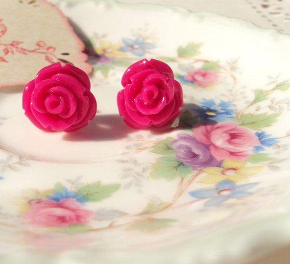 Candy Kisses - Rose Flower Earrings