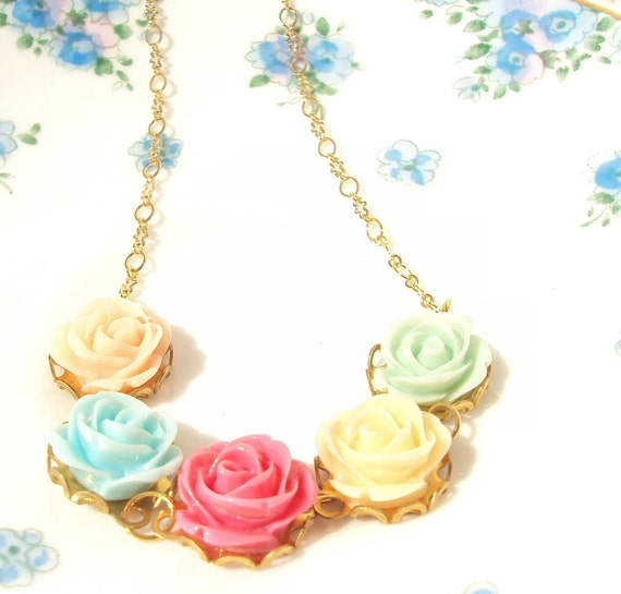 Bloom - Flower Necklace - Whimsy - Whimsical - Romance - Bridal - Bridesmaid