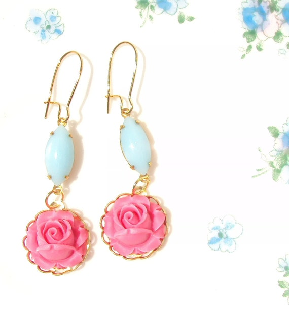 50% OFF - Kate - Vintage Rose Jeweled Earrings - Whimsy - Whimsical - Romantic - Bridal