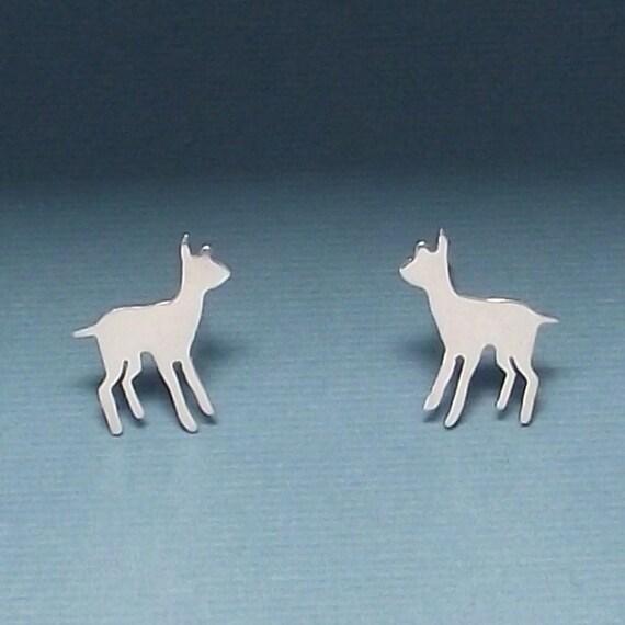 Sterling Silver Dear-oh-deer Fawn Stud Earrings