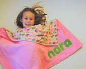 Personalized Baby Blanket in Pink with Elephants