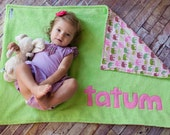 Personalized Elephant Stroller Blanket in Lime
