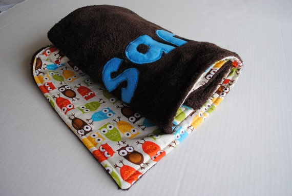 Handmade Personalized Baby Stroller Blanket in Chocolate Hoot Hoot