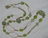 Lime Green & Gold chain long Necklace