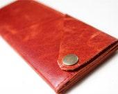 Leather Wrap Wallet in Pumpkin Orange