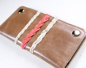 Leather Wallet in Elephant Grey w/ Coral Pink