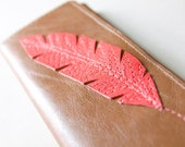 Leather Wallet with a Coral Pink Feather