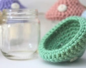 Crochet Mushroom Storage Pot from Upcycled Baby Food Jars Vintage Buttons Mint Green Party Favors Tiny Jar Spring Time Container