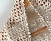 Ivory Crochet Shawl Wrap Spring Scarf Cotton