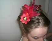 lovely poppy with bright matching feathers fascinator, hair clip