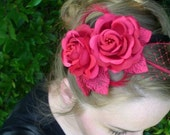 Red Red Rose with twisted feathers and russian bridal veil pieces, headband fascinator