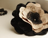Romantic Black and Nude Velvet and Dotted Chiffon Brooch Fascinator