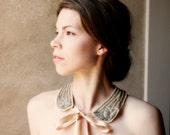 Statement of a Romantic Kind No.3- Vintage Faux Pearl Necktie Collar with Champagne Satin Ribbon